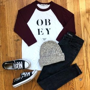 Obey Maroon and White 3/4 Sleeve Baseball T-Shirt